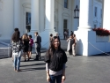 In front of the White House. Enter from the south side and exit the front.