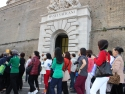Lining up to enter Vatican Museum for tour group.