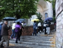 Walking up the hill toward St Claire's Basilica. It was raining.