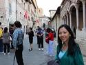 Walking toward St. Francis' Basilica.