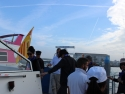 Boarding a shuttle boat for Venice.