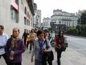 Walking on Rua do Horreo toward Santiago Cathedral.