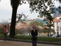 Alameda park, Santiago De Compostella, Spain overlooking Santiago Cathedral.