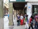 Walking toward Santiago Cathedral.