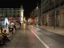 Praça do Comércio at night. Independence day is the day. They are having a 10K run to commemorate. A lot of runners.