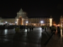 Praça do Comércio at night. Independence day is the day. They are having a 10K run.